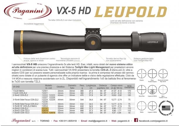 Volantino del distributore Paganini con le specifiche tecniche dei modelli Leupold VX-5HD disponibili in Italia