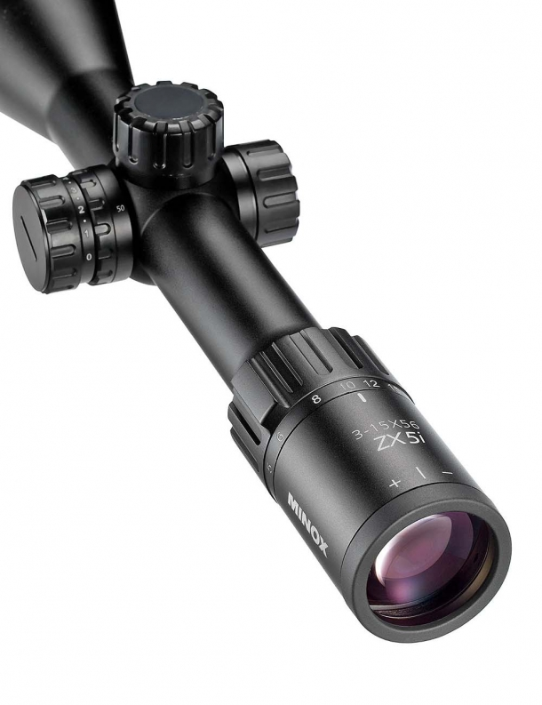 Detail view of the ocular of a Minox ZX5i 3-15x56 SF riflescope
