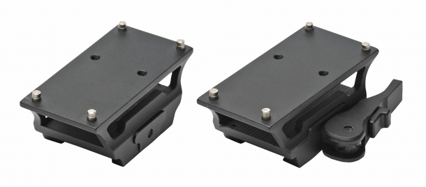 The mounting bases of the two models: standard (FMS) or quick-detach (LQD)