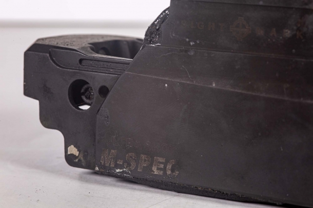A burned Sightmark Ultra Shot M-Spec reflex sight: nearly indestructible!