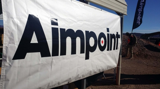 A caption of the Aimpoint stand at the 2017 Industry Day at the Range, where the Micro S-1 was available for testing