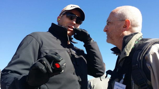 Jonas Ardemalm, Aimpoint Marketing Manager, introducing the new Aimpoint Micro S1 to Bruno Circi, GUNSweek.com Director