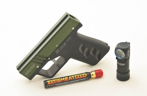 "A perfect EDC or ""personal defense kit"": the Micro-Shot OC spray pistol and the new Olight H1R Nova flashlight"