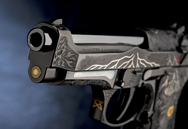 A frontal view of the Beretta 98FS Demon