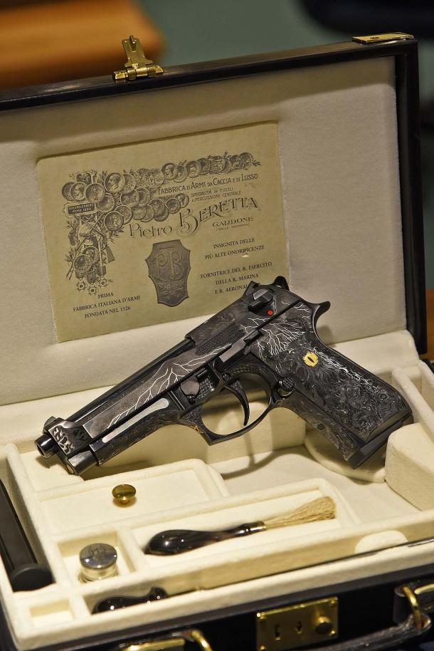 The Beretta 98FS Demon pistol in its custom case