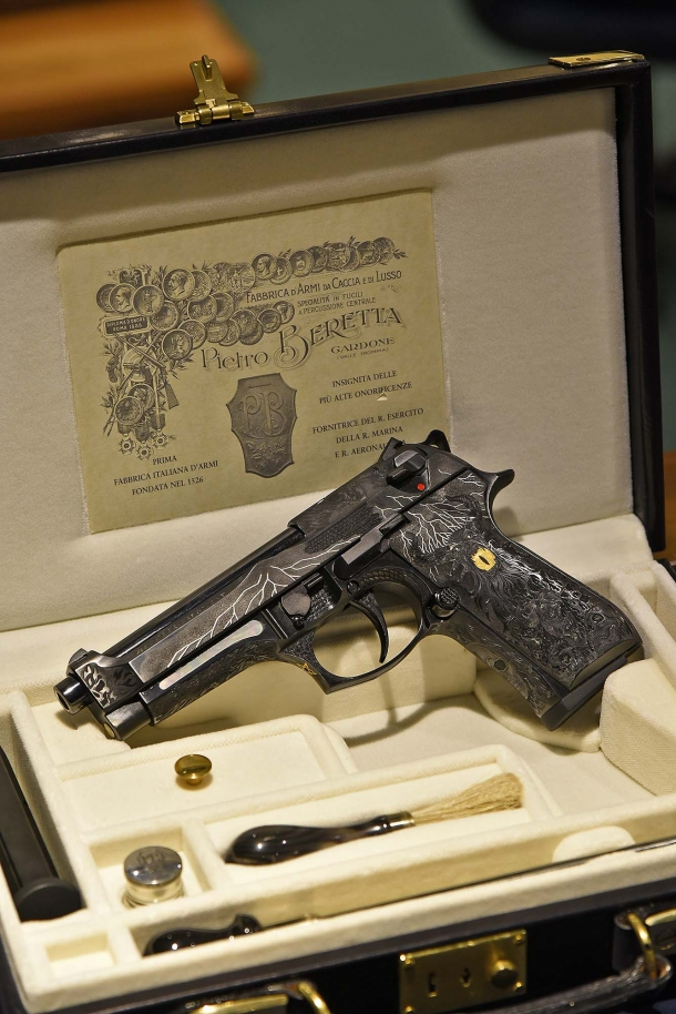 The Beretta 98FS Demon pistol in its custom case