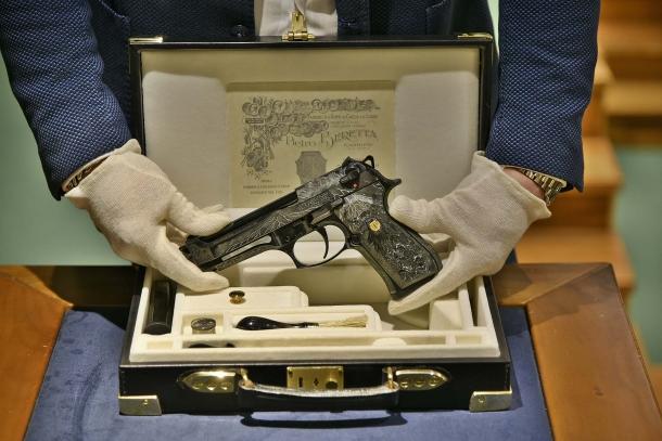 Beretta's 98FS Demon pistol, seen from the left side
