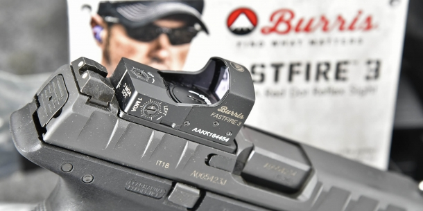 The APX Combat is compatible with several popular red dot sights, such as this Burris FastFire 3