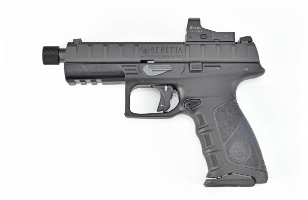 The Beretta APX Combat pistol, seen from the left side