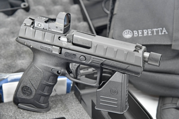 The APX Combat is the latest evolution of the striker-fired, polymer-frame Beretta APX pistol design