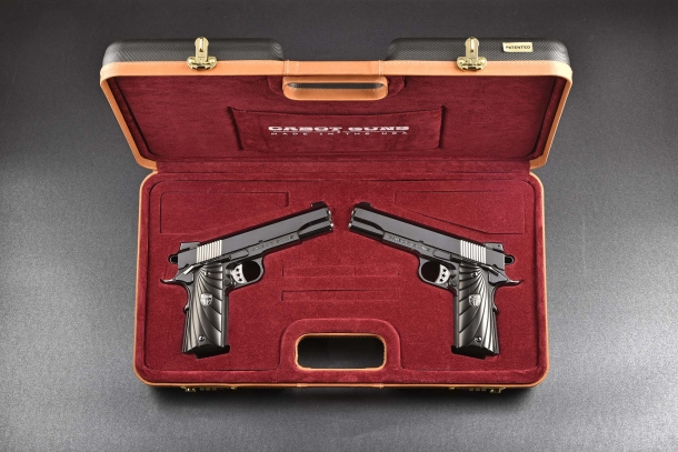 The Cabot Guns Mirror Image Pistols seen in their velvet-lined case