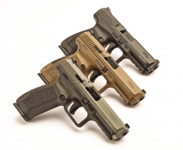 La Canik TP9 SF (Special Forces) nelle sue tre varianti di colore Cerakote: Tungsten, Desert, Black