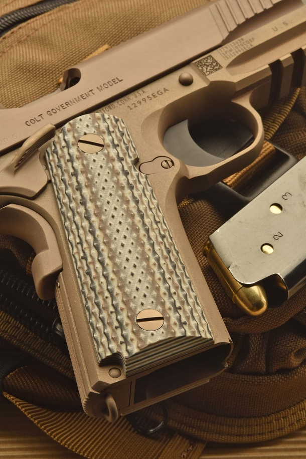 A detail of the G10 grip panels