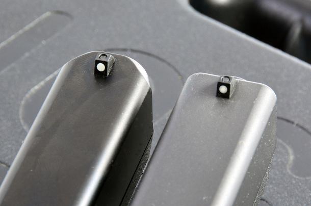 """Restano invariati i mirini standard installati sulle Glock, muniti di riferimento """"dot"""""""