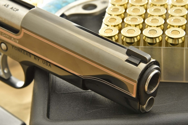 A close-up of the barrel bushing on the Kimber Classic Carry Elite