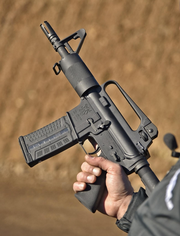 "The Olympic Arms K23B Stubby featured a 6.5"" barrel"