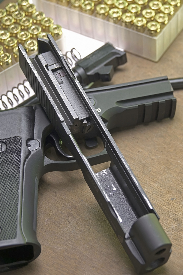 The slide removed from the frame: the automatic firing pin safety system is visible – and so are some signs of the manufacturing procedures, which won't interfere with the operation and performances of the gun
