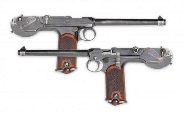 """le prime pistole che hanno impiegato il sistema  """"striker system"""" Borchardt C93"""