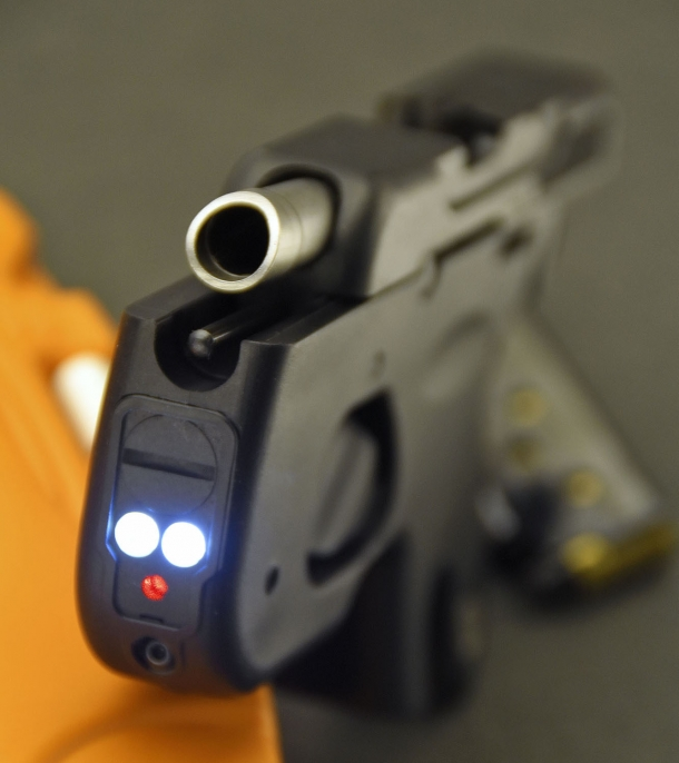 The Taurus 180 Curve features a Viridian laser designator and a double 25-Lumens led light