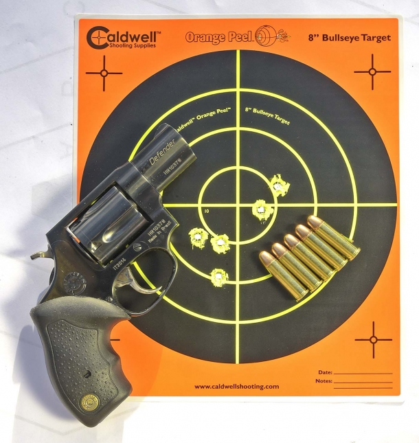 A five-shots, rapid-fire group at 2 meters