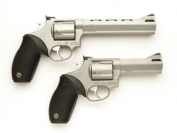 Right side of the two Taurus Tracker .44 Magnum National Match revolvers
