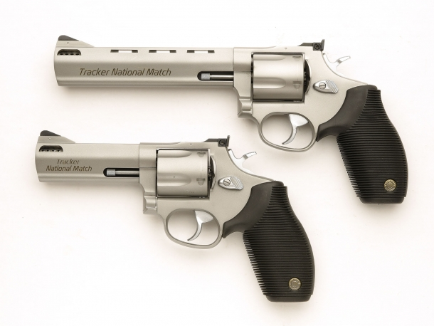 "Left side of the revolvers, with the 4"" ported barrel variant under the 6.5"" barrel model"