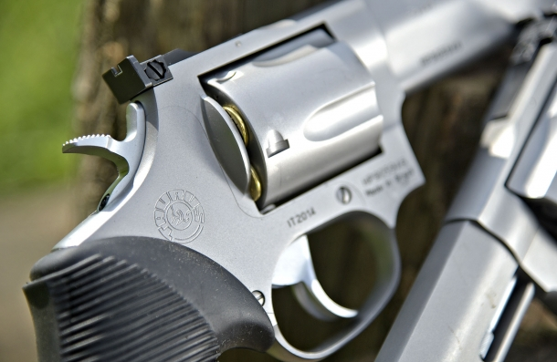The massive Taurus Compact frame is made for five-shots, .44 caliber cylinders