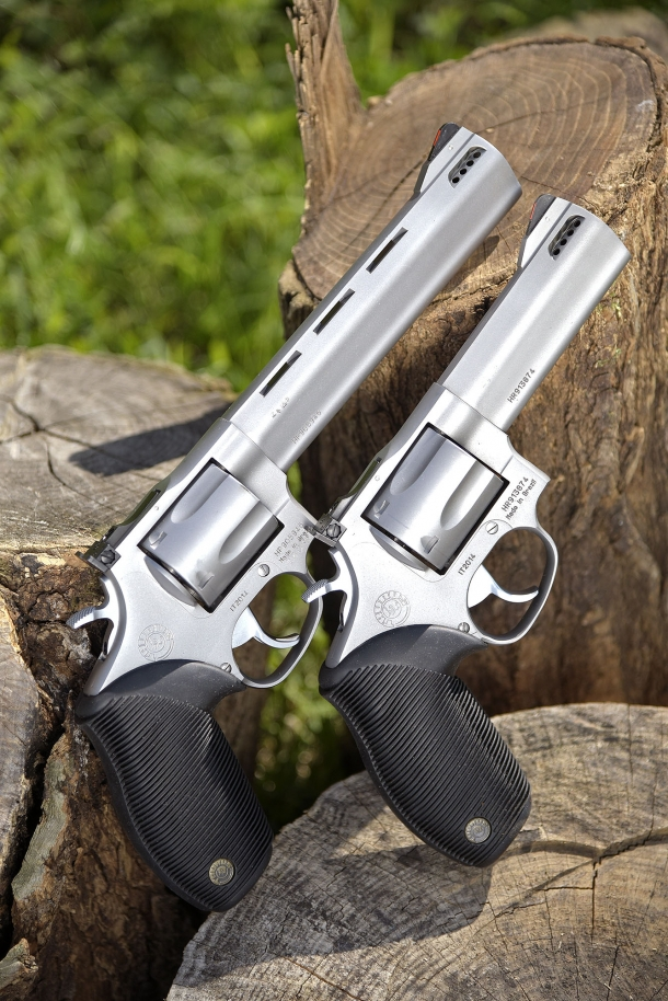 "The two Taurus Tracker National Match .44 Magnum revolvers with 4"" and 6.5"" ported barrels"