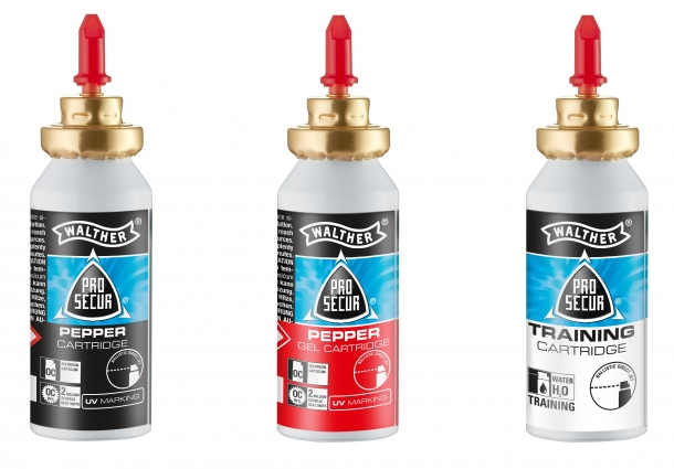 The three available loads for the PDP, left to right: pepper spray, pepper ballistic gel, water training cartridge