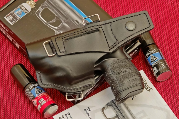 The Walther PDP holster can be carried on a belt or adapted for shoulder or vest carry