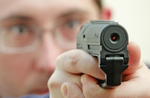 The business end of a loaded Walther PDP: notice the nozzle of the pepper spray catridge