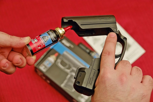...and a pepper spray cartridge just slides in: it's that simple