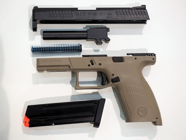 The CZ P10C pistol, field-stripped