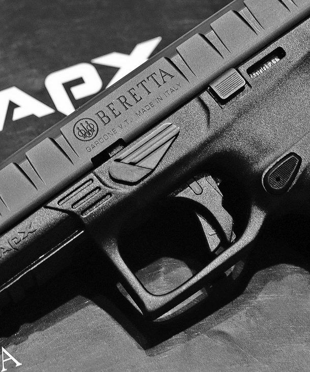 The Beretta APX is easily and quickly stripped through a frame-mounted lever