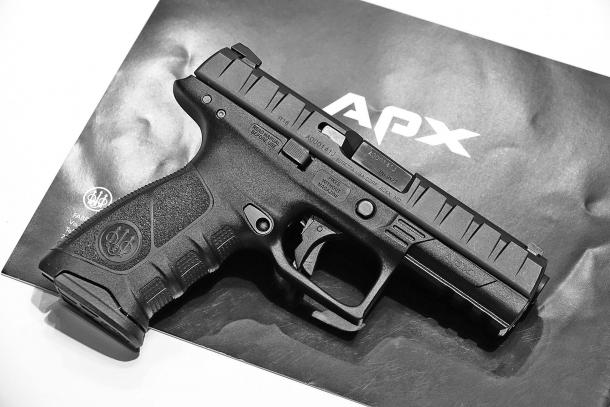 The Beretta APX pistol, seen from the right side
