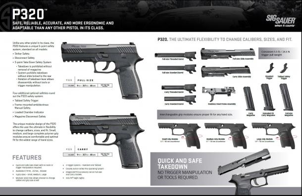 Il design modulare della P320 consente al tiratore di cambiare la configurazione della sua arma a piacimento