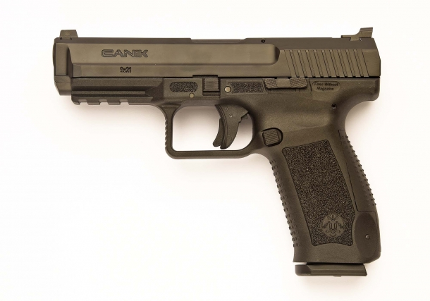 The Canik TP9 SF pistol, seen from the left side