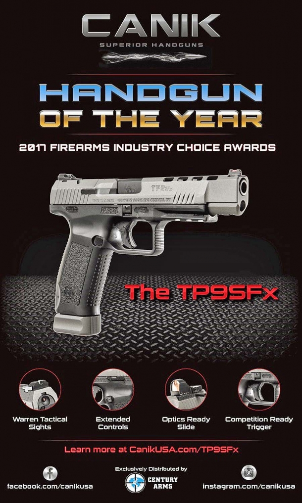 The Canik TP9SFx is the Handgun of the Year 2017!