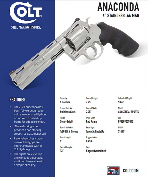 "Technical features of the new Colt Anaconda revolver, in its 6"" barrel variant"