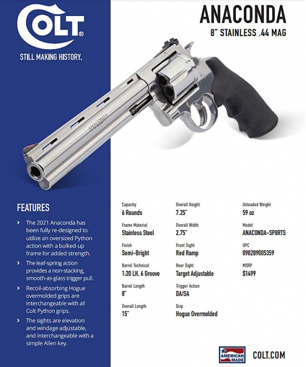 "Technical features of the new Colt Anaconda revolver, in its 8"" barrel variant"