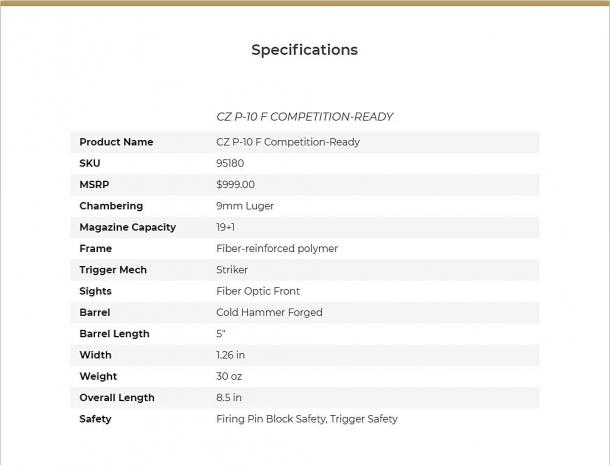 Le specifiche tecniche della nuova CZ P-10F Competition-Ready