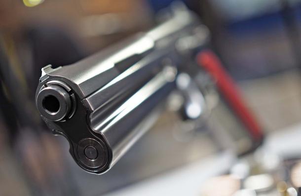 """La volata della pistola FK Brno e il mirino di tipo """"Express"""" innestato sul carrello"""