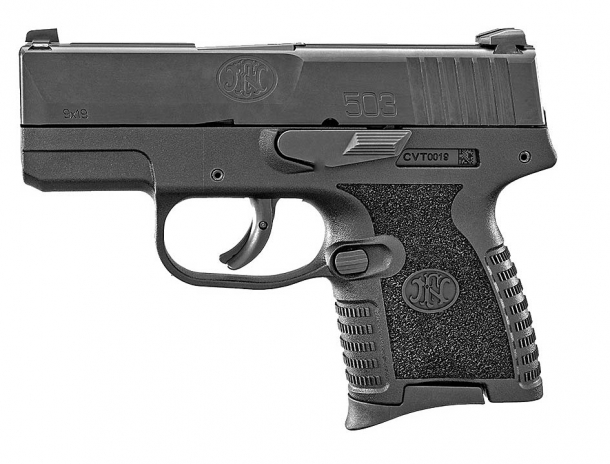 FN 503 9mm concealed carry pistol, left side