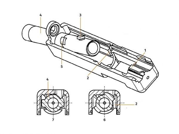A patent diagram for the rotating barrel of the new Glock 46 pistol