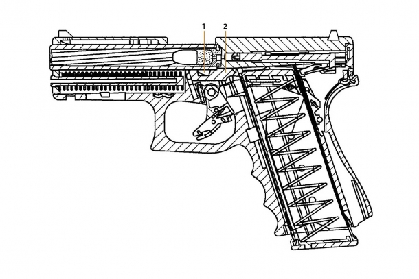 A schematic of the new Glock 46 rotating-barrel pistol, from one of the patents