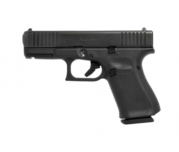 Glock 23 Gen5 .40 Smith & Wesson caliber pistol, left side