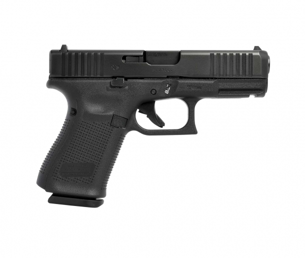 Glock 23 Gen5 .40 Smith & Wesson caliber pistol, right side