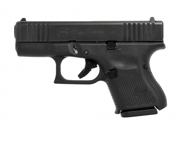 Glock 27 Gen5 .40 Smith & Wesson caliber pistol, left side