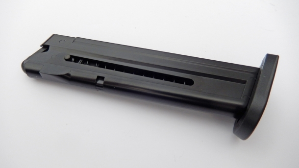 The single stack magazine of the GSG Firefly holds up to ten rounds of .22 Long Rifle ammunition