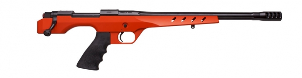 Built on a one-piece, billet aluminum stock, the mid-grip stock provides a completely rigid platform for the bedded action and free-floated barrel